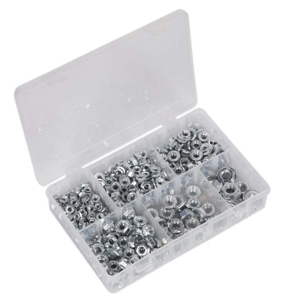 Sealey - AB031FN  Flange Nut Assortment 390pc M5-M12 Serrated DIN 6923 Metric