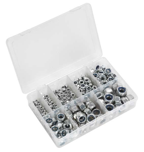 Sealey - AB033LN  Nylon Lock Nut Assortment 255pc M4-M16 DIN 985