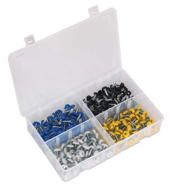 Sealey - AB076NP  Number Plate Screw Assortment 200pc 4.8mm x 18mm Plastic Enclosed Head