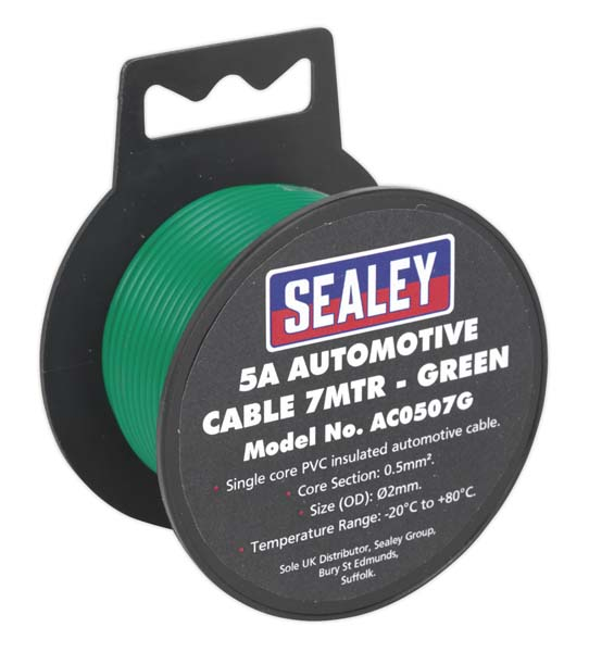 Sealey - AC0507G  Automotive Cable Thick Wall 5A 7mtr Green