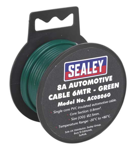 Sealey - AC0806G  Automotive Cable Thick Wall 8A 6mtr Green