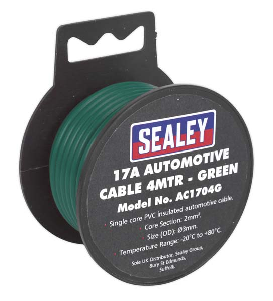 Sealey - AC1704G  Automotive Cable Thick Wall 17A 4mtr Green