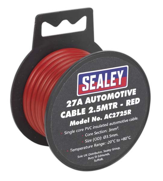 Sealey - AC2725R  Automotive Cable Thick Wall 27A 2.5mtr Red