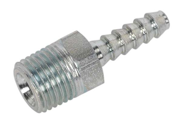 "Sealey - AC38  Screwed Tailpiece Male 1/4""BSPT - 3/16"" Hose Pack of 5"