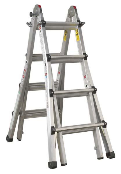 Sealey - AFPL3  Aluminium Telescopic Ladder 4-Way EN 131 Adjustable Height