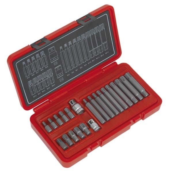 """Sealey - AK2190  Ribe Bit Set 22pc 3/8"""" & 1/2""""Sq Drive"""