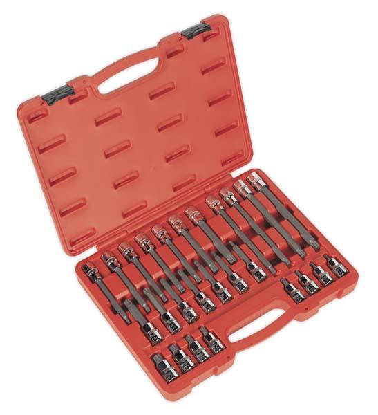 """Sealey - AK2195  Spline Socket Bit Set 26pc 1/2""""Sq Drive"""