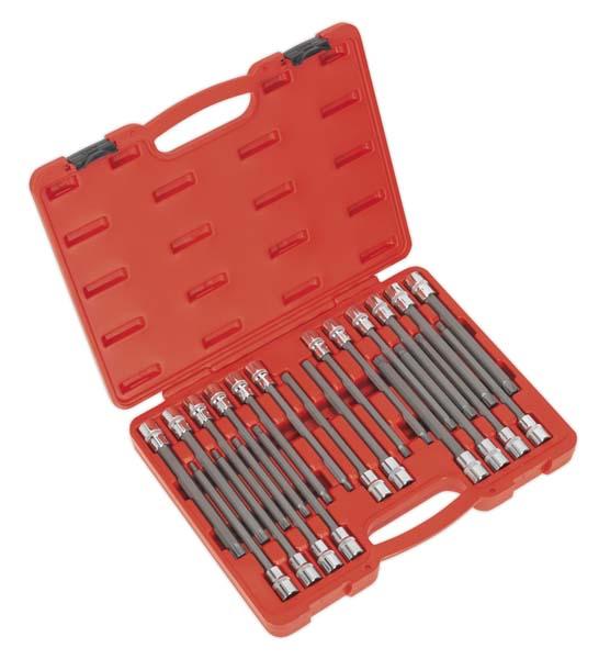 """Sealey - AK2197  TRX-Star/Spline/Hex/Ribe Socket Bit Set 22pc 1/2""""Sq Drive 200mm"""