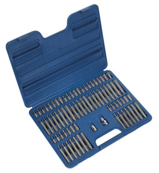 """Sealey - AK21974  TRX-Star/Security TRX-Star/Hex/Ribe/Spline Bit Set 74pc 3/8"""" & 1/2""""Sq Drive"""