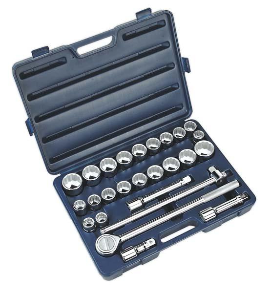 """Sealey - AK2582  Socket Set 26pc 3/4""""Sq Drive 12pt WallDrive"""