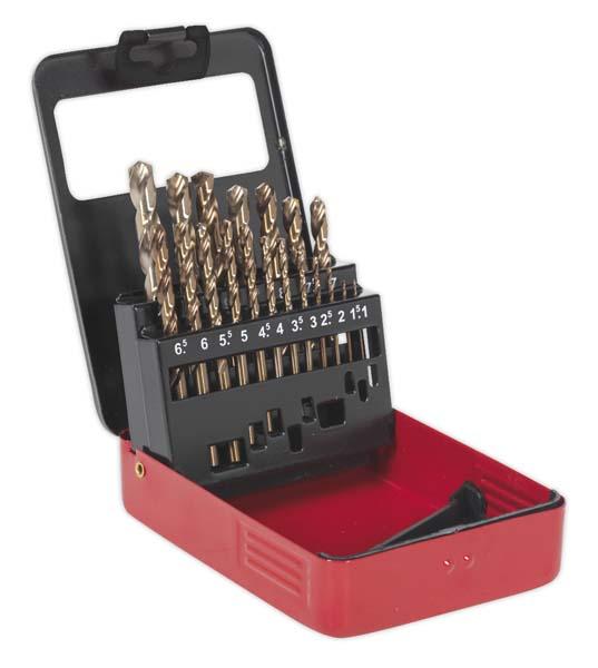 Sealey - AK4701  HSS Cobalt Split Point Fully Ground Drill Bit Set 19pc Metric