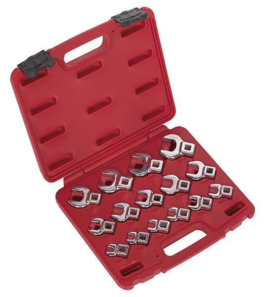 """Sealey - AK59891  Crow's Foot Open End Spanner Set 15pc 3/8""""Sq Drive Metric"""