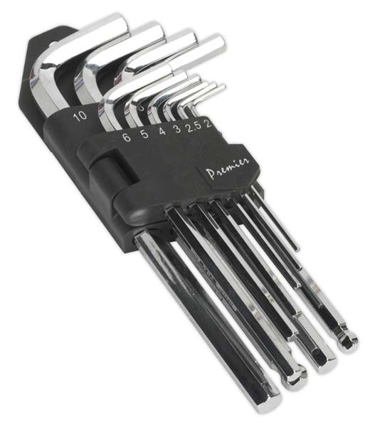 Sealey - AK7166  Hex Key Set 10pc Long Fully Polished Metric