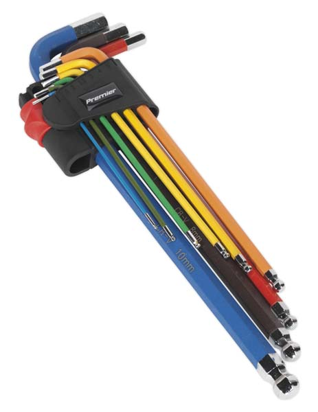 Sealey - AK7191  Ball-End Hex Key Set 9pc Colour-Coded Extra-Long Metric