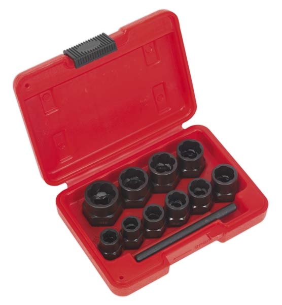 "Sealey - AK8184  Bolt Extractor Set 11pc 3/8""Sq Drive or Spanner"