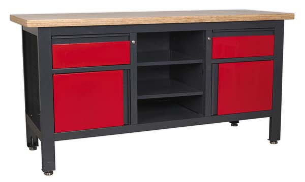 Sealey - AP1905A  Workstation with 2 Drawers, 2 Cupboards & Open Storage