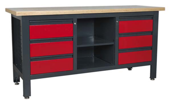 Sealey - AP1905D  Workstation with 6 Drawers & Open Storage