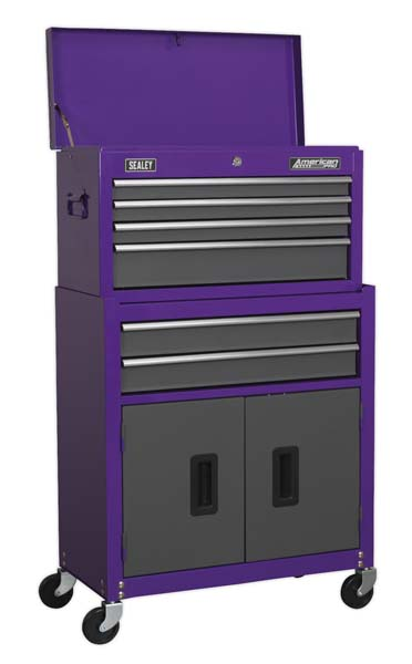 Sealey - AP2200BBCP  Topchest & Rollcab Combination 6 Drawer with Ball Bearing Slides - Purple/Grey