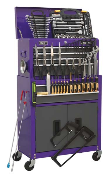 Sealey - AP2200COMBOCP  Topchest & Rollcab Combination 6 Drawer with Ball Bearing Slides - Purple/Grey & 128pc Tool Kit