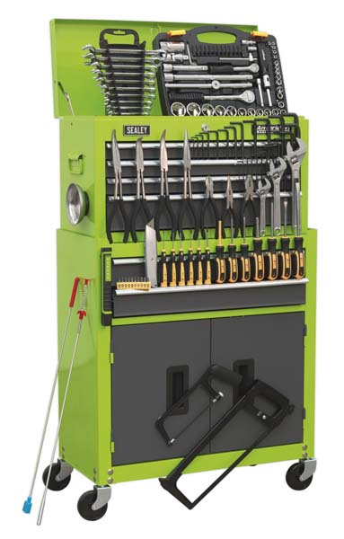 Sealey - AP2200COMBOHV  Topchest & Rollcab Combination 6 Drawer with Ball Bearing Slides - Hi-Vis Green/Grey & 128pc Tool Kit