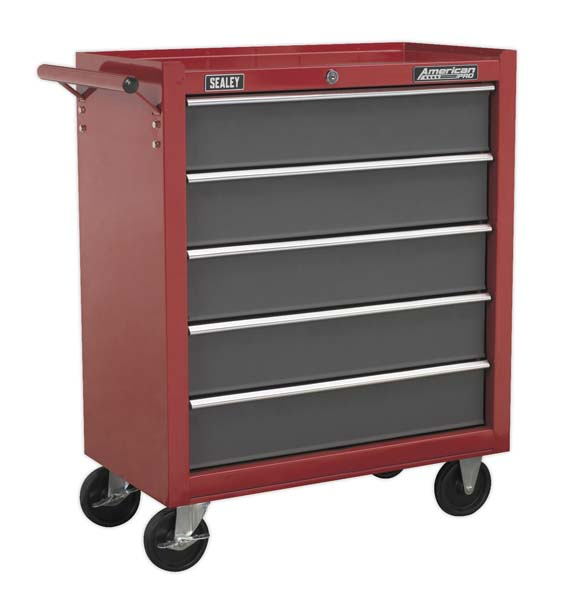 Sealey - AP22505BB  Rollcab 5 Drawer with Ball Bearing Slides - Red/Grey