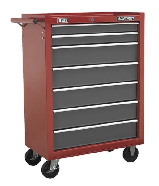 Sealey - AP22507BB  Rollcab 7 Drawer with Ball Bearing Slides - Red/Grey