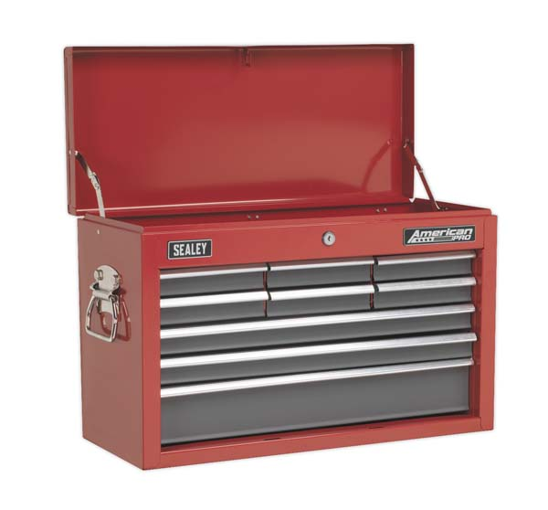Sealey - AP22509BB  Topchest 9 Drawer with Ball Bearing Slides - Red/Grey