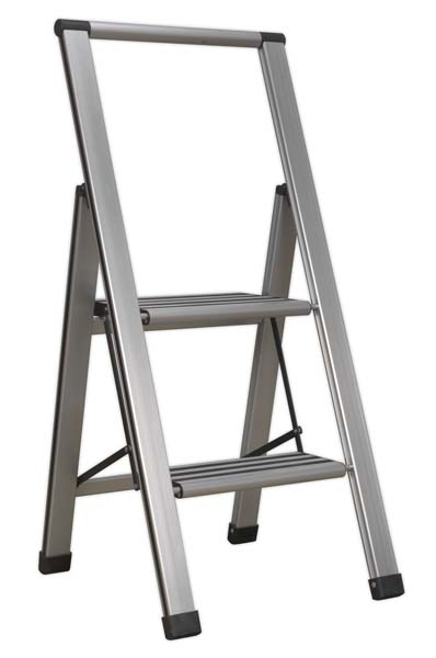 Sealey - APSL2  Aluminium Professional Folding Step Ladder 2-Step 150kg Capacity