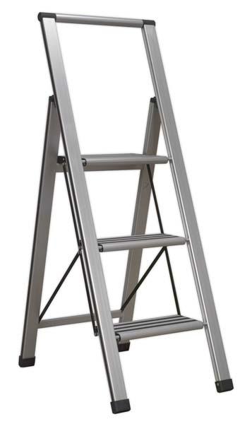 Sealey - APSL3  Aluminium Professional Folding Step Ladder 3-Step 150kg Capacity