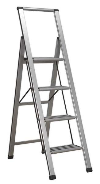 Sealey - APSL4  Aluminium Professional Folding Step Ladder 4-Step 150kg Capacity