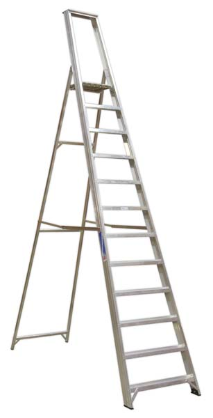 Sealey - AXL12  Aluminium Step Ladder 12-Tread Industrial BS 2037/1