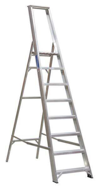 Sealey - AXL8  Aluminium Step Ladder 8-Tread Industrial BS 2037/1