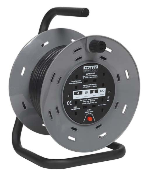 Sealey - BCR25  Cable Reel 25mtr 4 x 230V 1.25mm