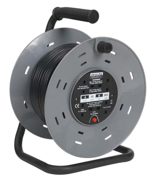Sealey - BCR50  Cable Reel 50mtr 4 x 230V 1.25mm