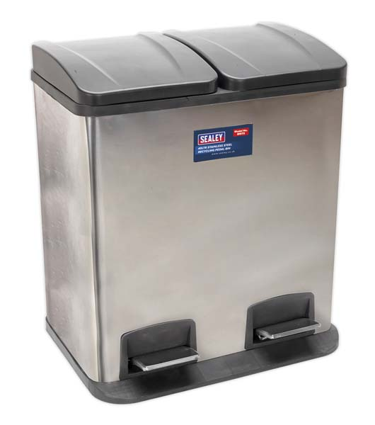 Sealey - BM73  Pedal Bin Recycling 40ltr Stainless Steel