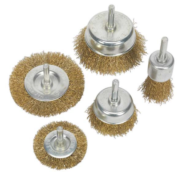 Sealey - BWBS05  Wire Brush Set 5pc Brassed