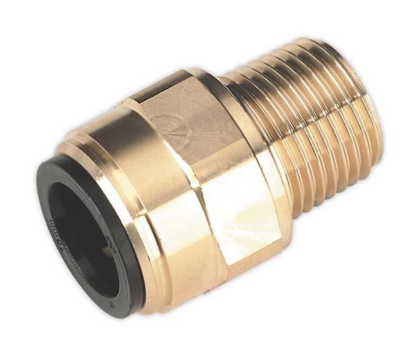 """Sealey - CAS15BSA  Straight Adaptor 15mm x 1/2""""BSPT Brass (John Guest Speedfit"""