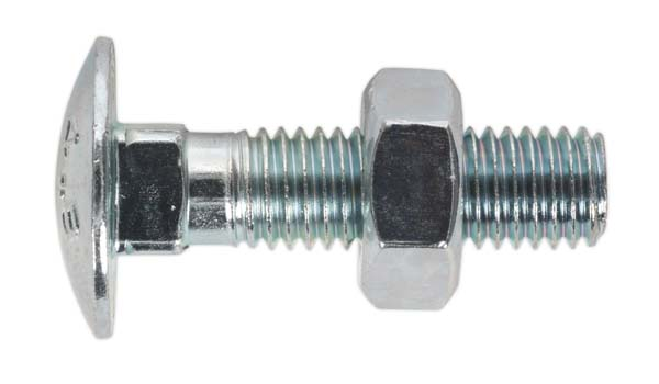 Sealey - CBN1040  Coach Bolt & Nut M10 x 40mm Zinc DIN 603 Pack of 50