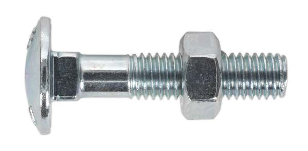 Sealey - CBN840  Coach Bolt & Nut M8 x 40mm Zinc DIN 603 Pack of 50