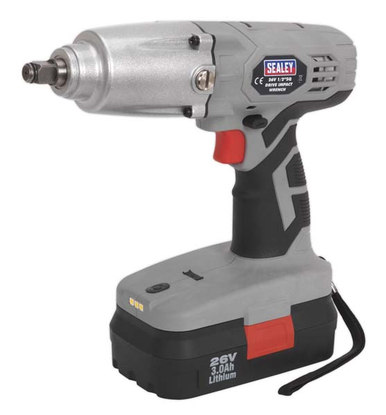 "Sealey - CP2600  Cordless Impact Wrench 26V 3Ah Lithium-ion 1/2""Sq Drive 335lb.ft"