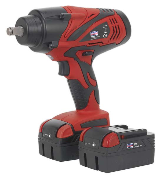 "Sealey - CP3005  Cordless Impact Wrench 18V 4Ah Lithium-ion 1/2""Sq Drive 650Nm - 2 Batteries"