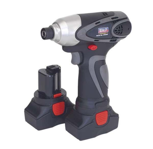 "Sealey - CP6003  Cordless Impact Driver 14.4V 2Ah Lithium-ion 1/4"" Hex Drive 117Nm - 2 Batteries 40min Charger"