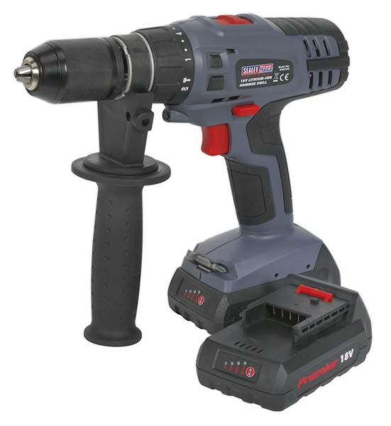 Sealey - CP6018V  Cordless Hammer Drill/Driver18V Lithium-ion Super Torque 1hr Charge - 2 Batteries