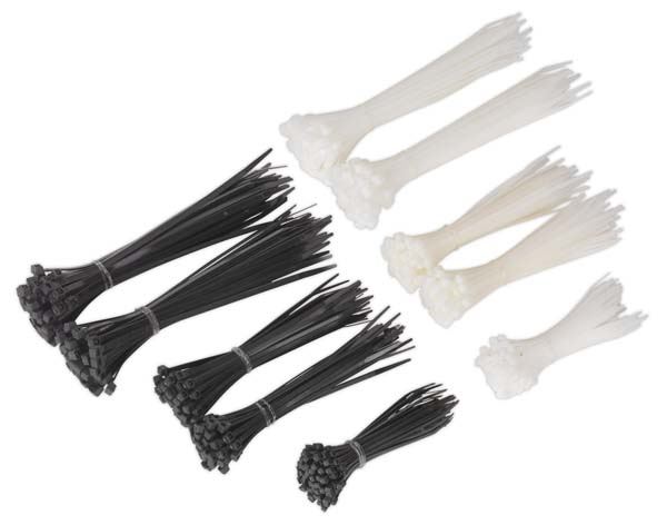 Sealey - CT600BW  Cable Tie Assortment Black/White Pack of 600