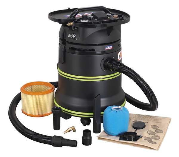 Sealey - DFS35M  Vacuum Cleaner Industrial Dust-Free Wet & Dry 35ltr 1000W/230V Plastic Drum Class M Filtration Self-Clean Filter & Auto Start
