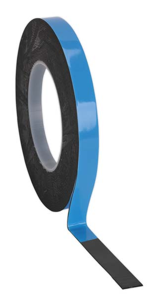 Sealey - DSTB125  Double-Sided Adhesive Foam Tape 12mm x 5mtr Blue Backing