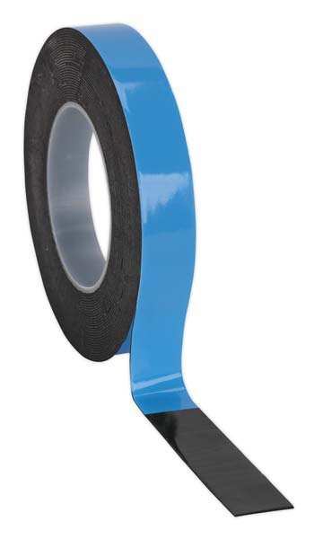 Sealey - DSTB195  Double-Sided Adhesive Foam Tape 19mm x 5mtr Blue Backing