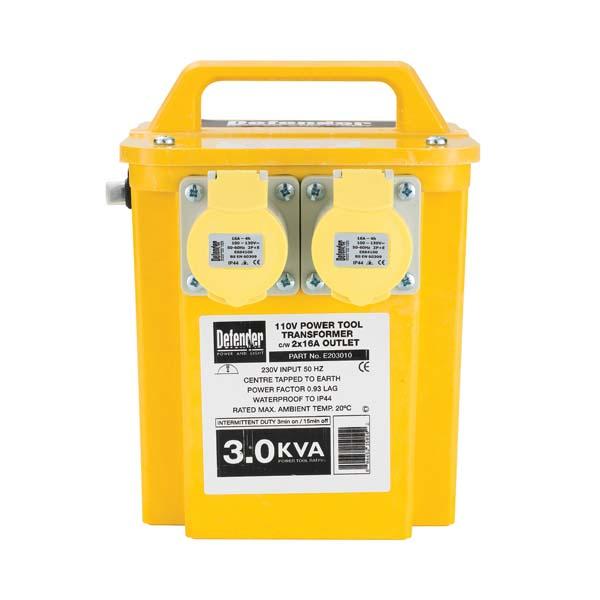 Defender 3kVA Transformer 2x 16A Outlets 110V