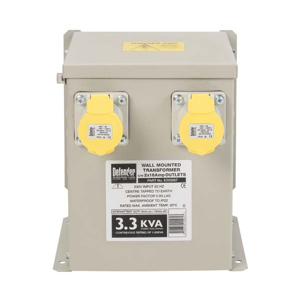 Defender 3.3kVA Wall Mounted Transformer 2x 16A Outlets 110V
