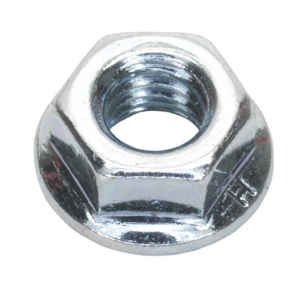 Sealey - FN6  Flange Nut Serrated M6 Zinc DIN 6923 Pack of 100